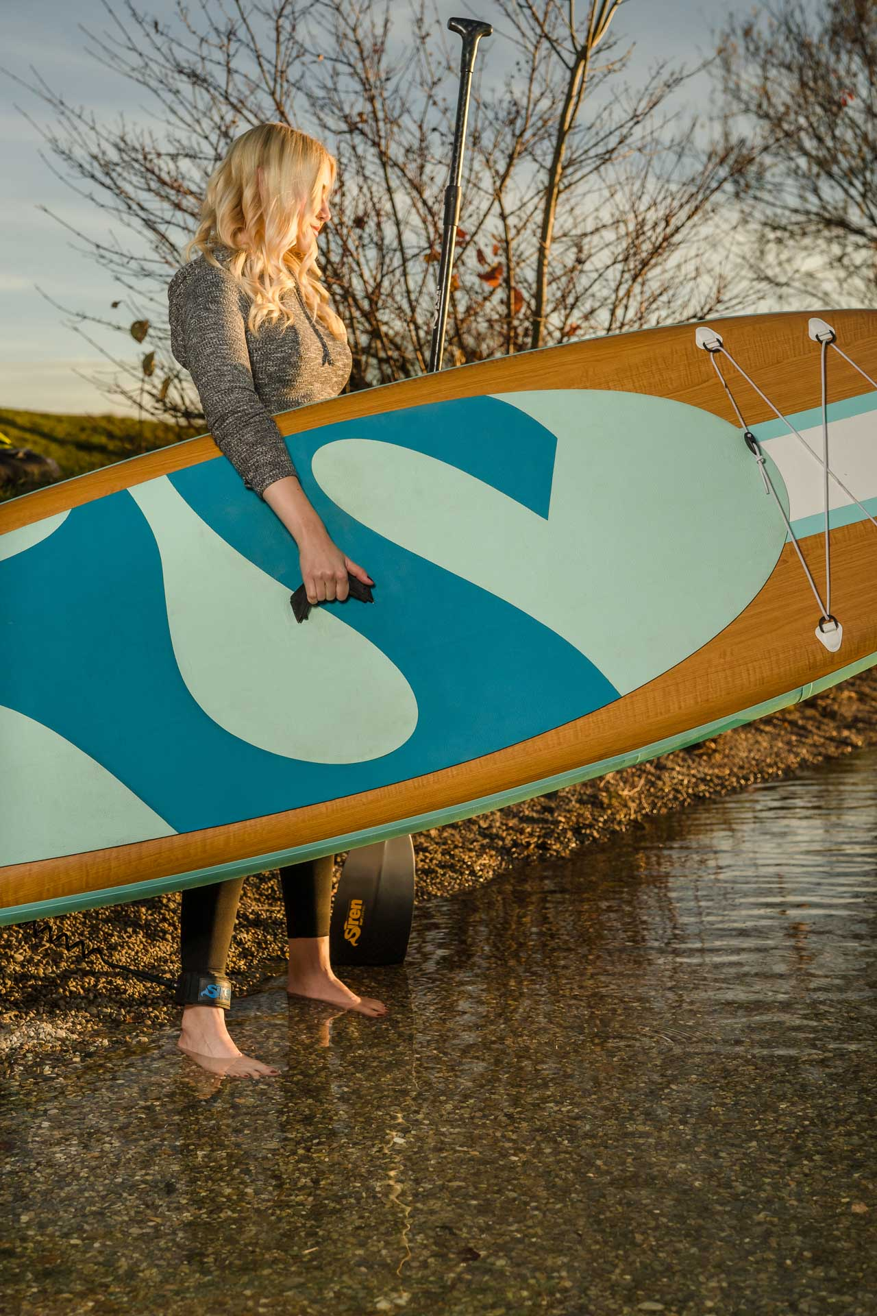 SUP (Stand Up Paddling) in Bavaria at sunset